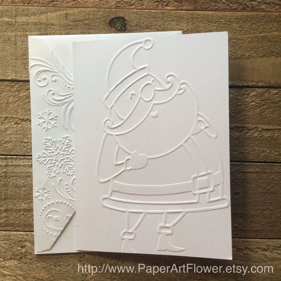 Santa Claus Card, White Embossed Cards, Christmas Stationery, Greeting Cards, St. Nick Note Card, Saint Nicholas Note Card, Christmas Card by PaperArtFlower