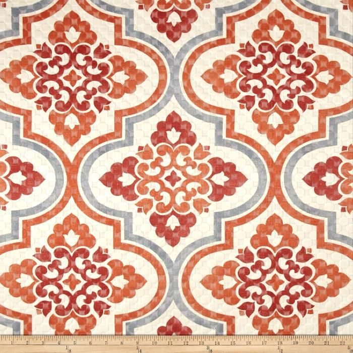 Waverly Quilted Lattice Imprint Paprika from @fabricdotcom  This cotton/polyester blend fabric is lightweight, versatile and perfect for window treatments (draperies, valances, curtains, and swags), toss pillows, upholstery and more. Colors include cream, grey, rust and mauve.