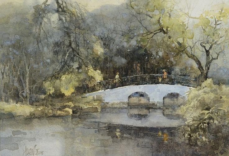 """""""Taipei Botanical Gardens"""" 【台北植物園 】 (2015) By Huang Hsiao-Hui, from Taipei, Taiwan watercolor; 27 x 36 cm"""