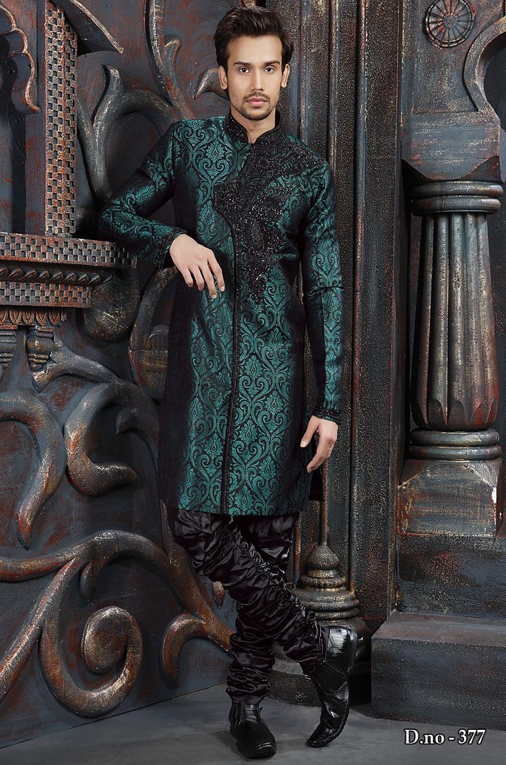 Dark Green Shade Bridges Style Sherwani 377  http://www.silk-india.com/en/81-sherwani 125.25$  For Bulk Orders mail us at:- raksha@silk-india.com