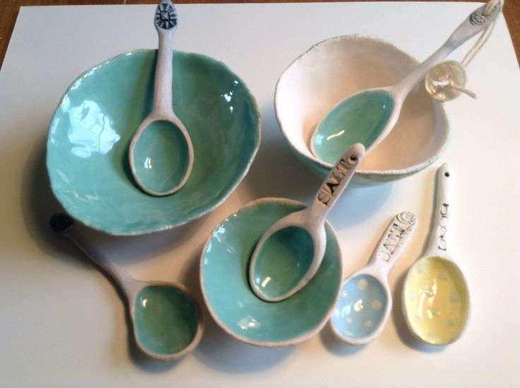 Handmade ceramic salt bowls and spoons. Oxides, coloured slips and earthenware jade glaze.   Gail de Jong