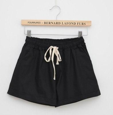 Summer Casual Solid Cotton Shorts Preppy Candy Colors High Waist Loose Beach Shorts Streetwear Pants Black One Size