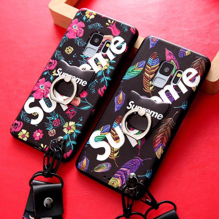 df5f33dd14 Supreme Galaxy S9ケース Galaxy s8plusケース おしゃれな浮き彫りデザイン ギャラクシーs9 プラスカバー シュプリーム  リング