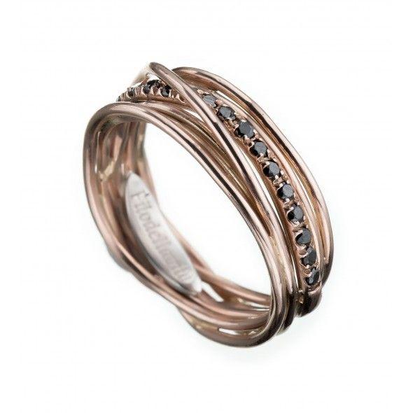 Anello Filodellavita 7 fili in Oro rosa 9 kt e Diamanti Neri ct 0,18