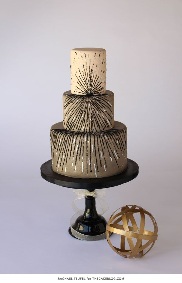 A gorgeous black and silver sequin cake plus insight on how to achieve a balanced cake design. See the inspiration, sketches and finished cake by Rachael Teufel for TheCakeBlog.com.