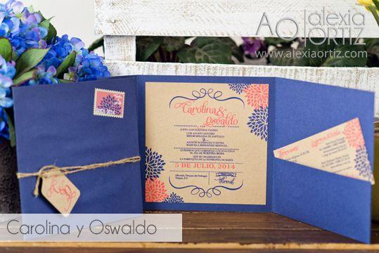 Invitaciones de boda en azul y coral con toque rústico / invitaciones de boda / wedding invitations