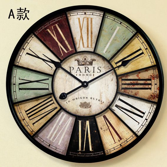 Home Decor Wall Clock Antique Style U0026 Large Mute Iron Crafts Vintage Old  Wall Watch With Roman Character Part 25