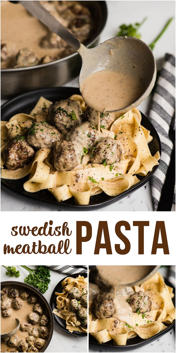 Swedish Meatball Pasta combines flavorful homemade pork and beef Swedish meatballs with a heavenly cream sauce and perfectly cooked pasta. #swedishmeatballpasta #groundbeef #easy #tasty #recipe #comfortfoods