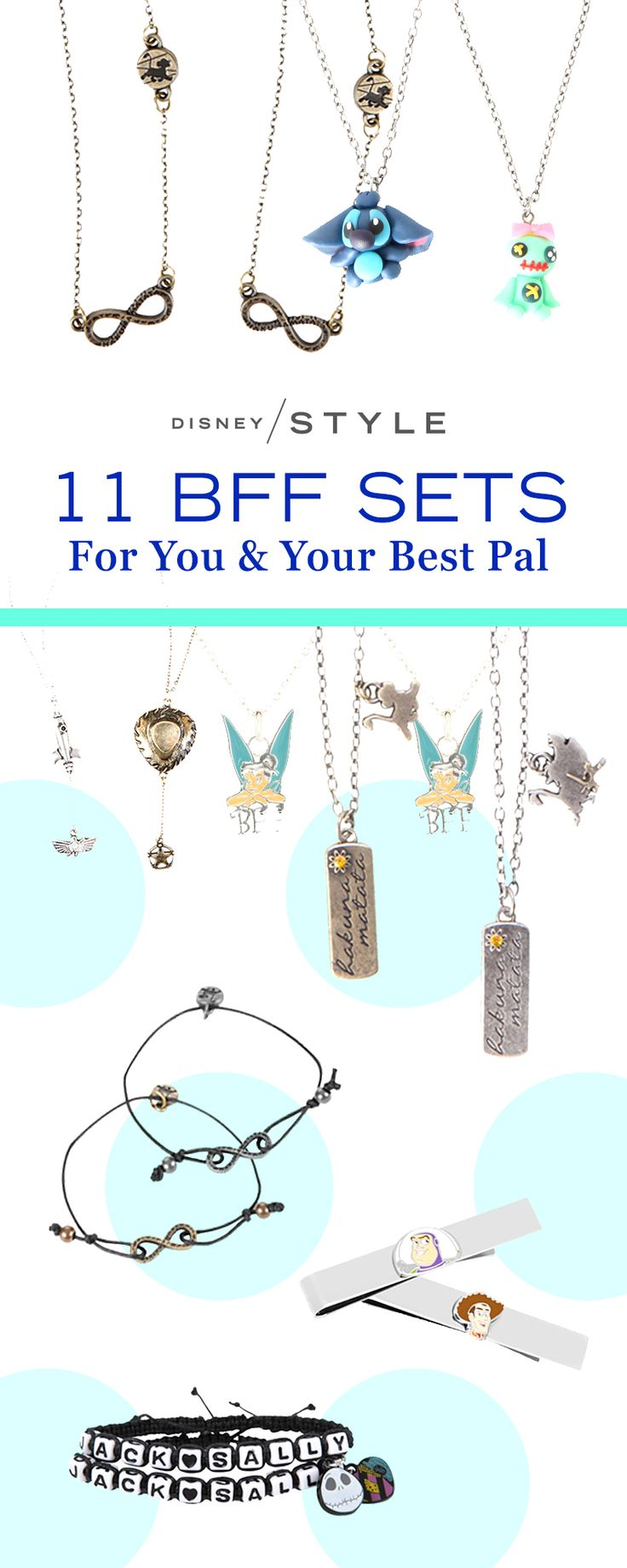 11 BFF sets for the Timon to your Pumbaa or Buzz to your Woody! | Disney lover's jewelry. | [ http://blogs.disney.com/disney-style/fashion/2016/03/10/11-things-for-your-disney-bff/#the-lion-king-infinity-necklace-set ]