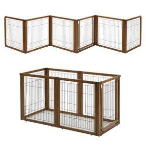 The Eco-Conscious Convertible Pet Gate can span wide areas to keep your dog confined. Freestanding Indoor pet gate sets up without damage to home woodwork.
