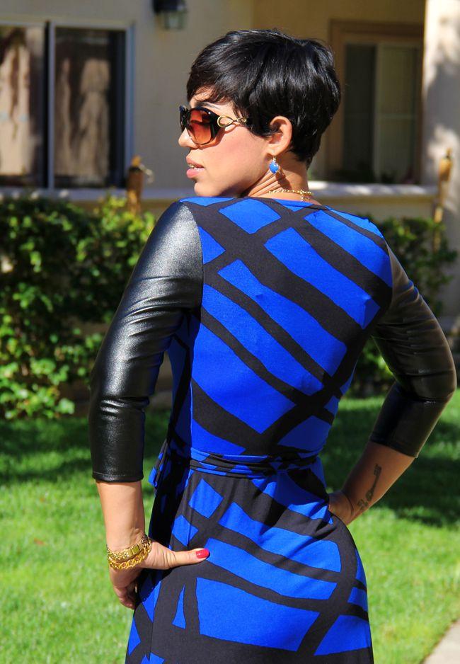 Mimi G Style: OOTD: DIY Wrap Dress w/ Leather Sleeves