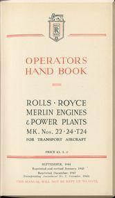 Rolls Royce Merlin Mk 22 -24 Aircraft Engine Operators Manual