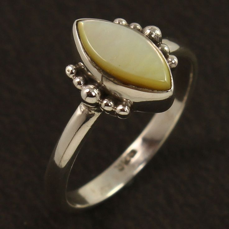 Natural MOTHER OF PEARL Gemstone 925 Sterling Silver Amazing Ring Size US 4.75 #Unbranded