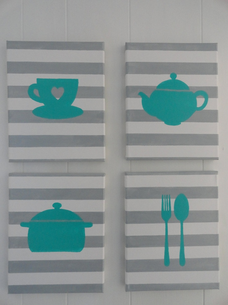 Kitchen Painting set of 4- acrylic on canvas. Could make myself with stencils.