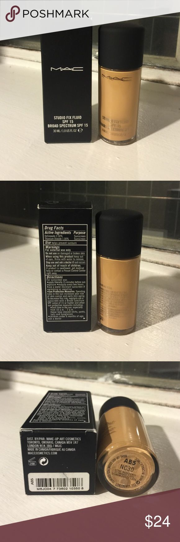 Mac Studio Fix Fluid NC30 Mac Studio fix Fluid Foundation in NC30. Brand new in box. 100% Authentic. No trading. Please ask any question before buying. Thank you MAC Cosmetics Makeup Foundation