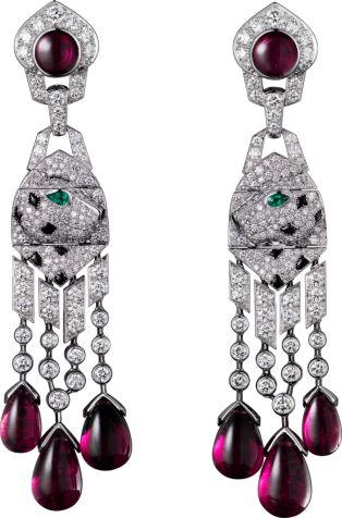 Panthère de Cartier earrings Platinum, rubellites, onyx, emeralds, diamonds