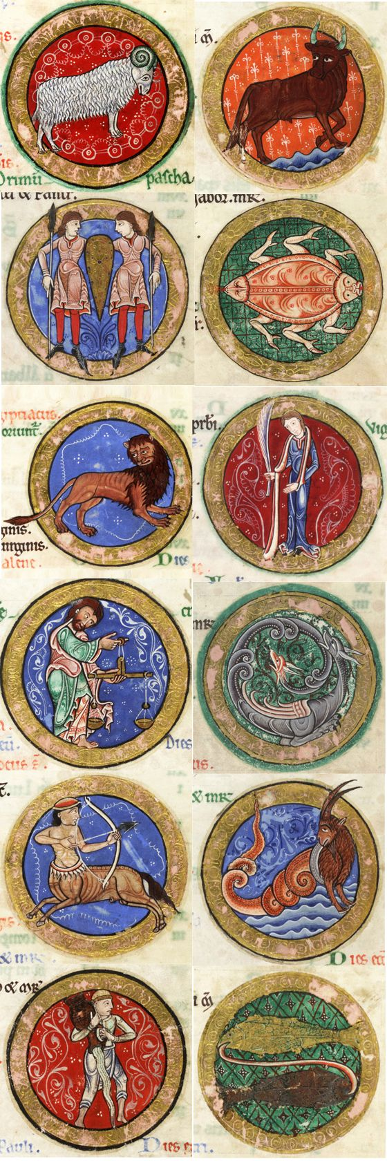 Miniatures of the twelve Zodiac signs from the elaborately illuminated Hunterian Psalter, cca. 1170 England. This manuscript is a splendid example of Romanesque book art.