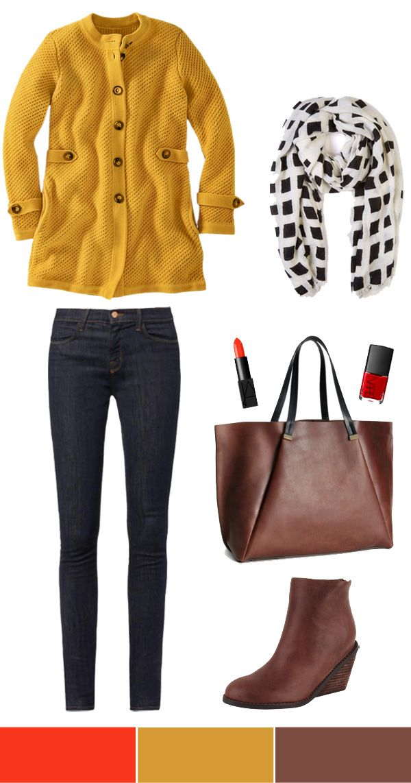 Mustard Sweater Coat + Dark Denim.