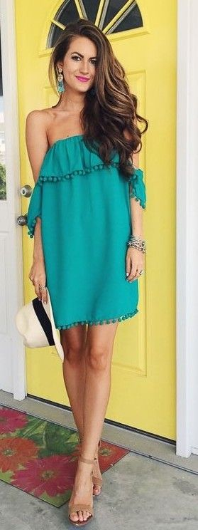 Off The Shoulder Green Pom Pom Dress                                                                             Source