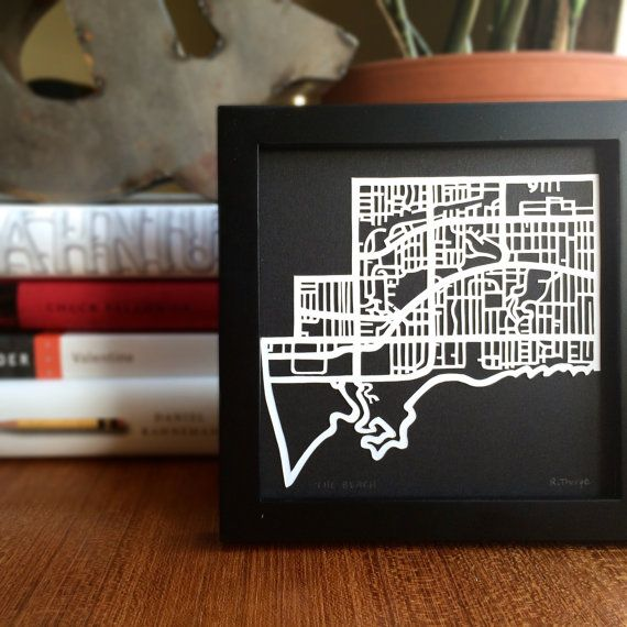 Hand cut paper map of The Beach (ward 32) in Toronto, ON  | 5x5 by CUTdesignsrt on Etsy