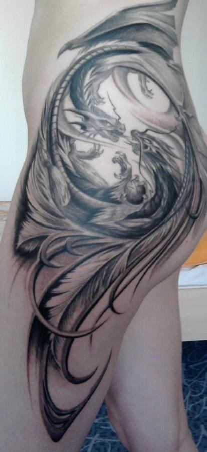 .I generally dislike dragon tattoos, but the design of this one i fantastic. #dragon #tattoos #tattoo