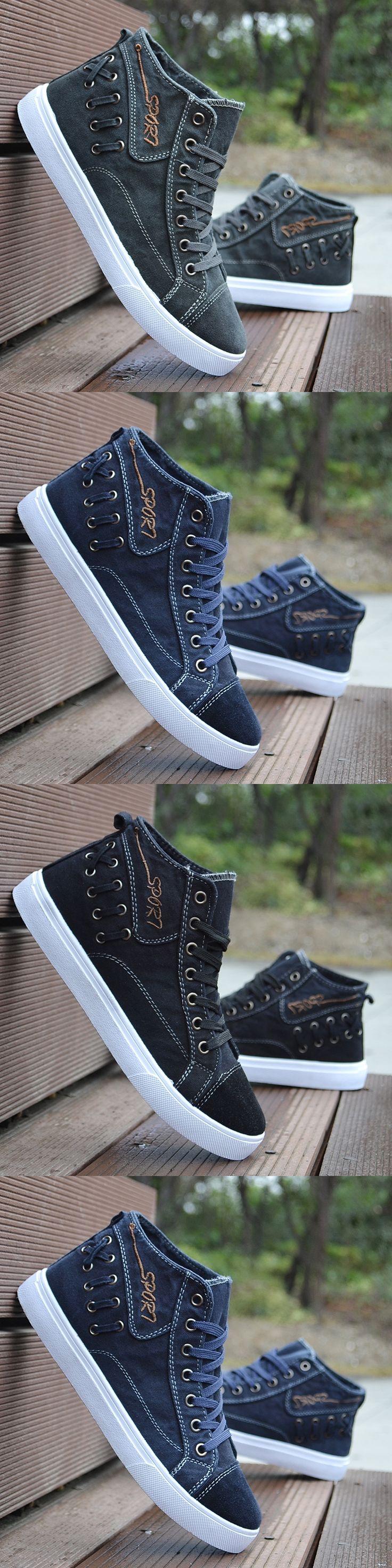 2017 Summer men shoes high top lace up Denim plimsolls Korean lace up casual Flat Shoes student School zapatos hombre T022412