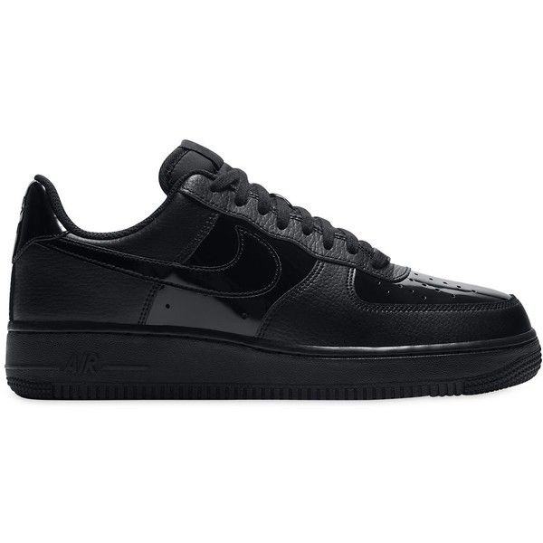 Nike Women Air Force 1 Leather Sneakers (£105) ❤ liked on Polyvore featuring shoes, sneakers, black, black leather shoes, black shoes, perforated leather shoes, black leather sneakers and leather trainers