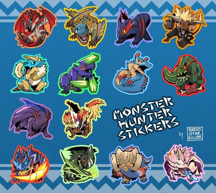 Make your own mix and match Monster Hunter sticker pack! These vinyl stickers are ~2 inches in size. Choose from six monsters to make your pack, or buy a complete pack with all 14 monsters.  - Rathalos - Tigrex - Nargacuga - Rajang - Zinogre - Brachydios - Lagiacrus - Deviljho - Gore Magala - Seregios - Glavenus - Astalos - Gammoth - Mizutsune