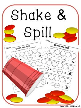 Shake and Spill by having students shake two sided counters in a cup and gently spill on to recording sheet. Students will sort the red and yellow chips and color in what they see. Students will write the missing numbers to show ways to make numbers. This product can be used with combinations of numbers to make numbers from 3 to 10.