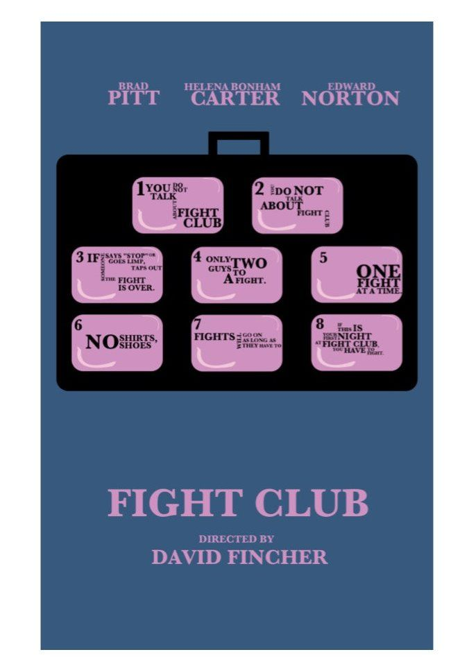 Fight club 1999 minimal movie poster by david peacock for Oui non minimaliste
