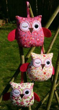 Vintage Chic Fabric Hanging Owl Decorations Ditsy Floral Shabby Country Dresser: Amazon.co.uk: