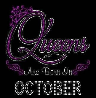 Queens Are Born in October Hot Pink 9.25x9 Rhinestone