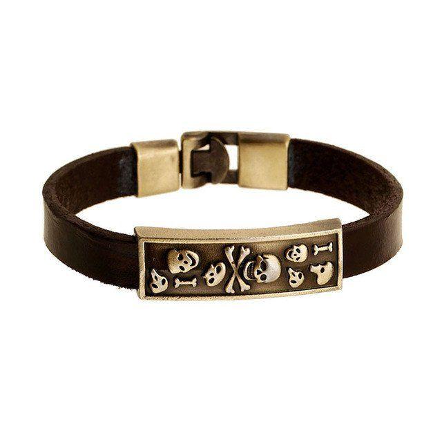 Brown Genuine Leather Bracelet With Skulls