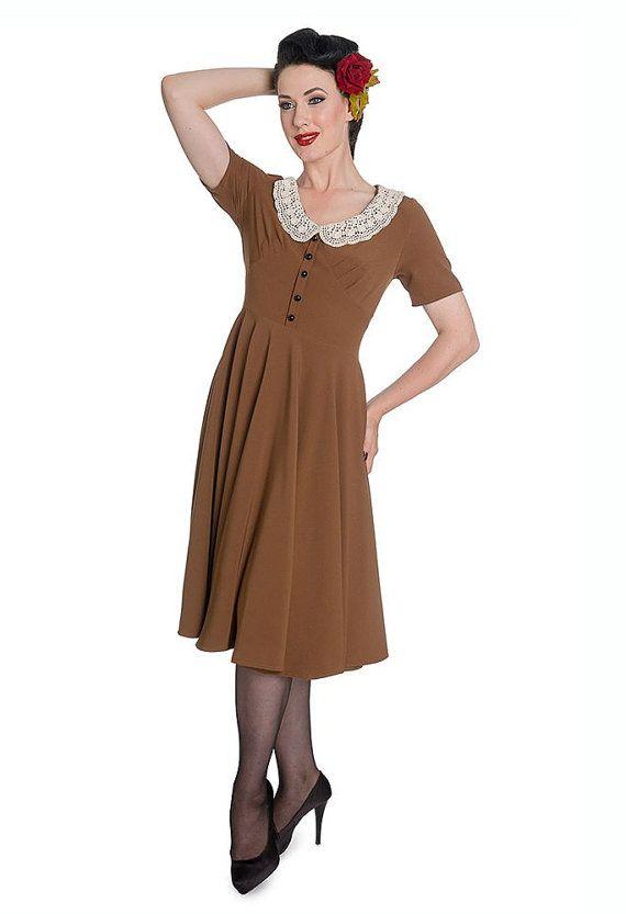 Elegant 1940s Vintage Inspired Mid Brown Tea Dress