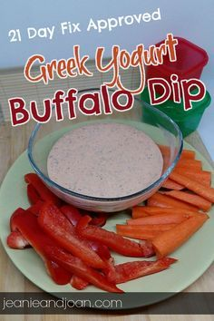21 day fix recipes - Greek Yogurt Buffalo Dip or Salad Dressing, 2 red containers and 2 teaspoons of oil - 21 day fix approved!