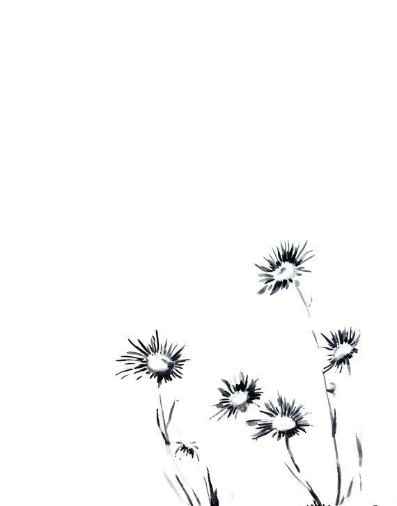Daisy Flowers Ink Drawing Art Print - Minimalist Art - Flowers - Modern Wall Art- Drawing Art - Black and White
