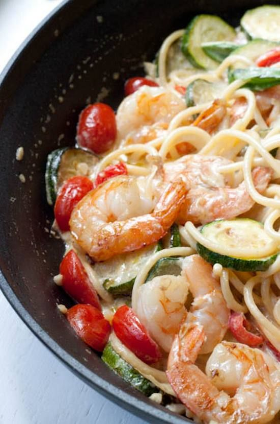 20-Minute Creamy Shrimp Pasta with Seasonal Vegetables. It's not only delicious, but quick to prepare, too.
