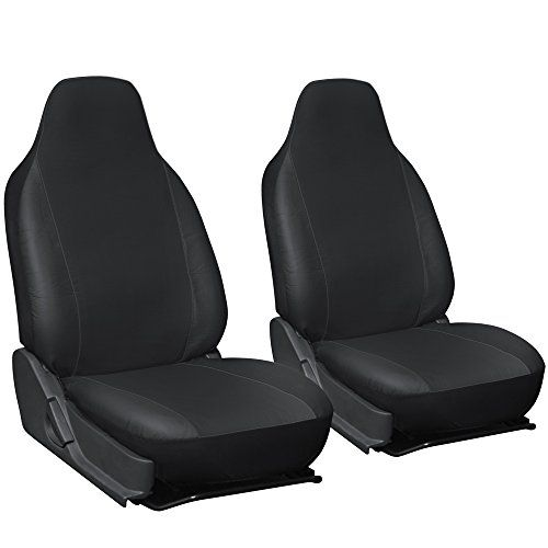 Oxgord 2pc Integrated Leatherette Bucket Seat Covers Universal Fit For CarTruckVanSUV Black