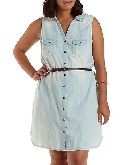 Plus size button up chambray shirt dress closet goals for Plus size chambray shirt