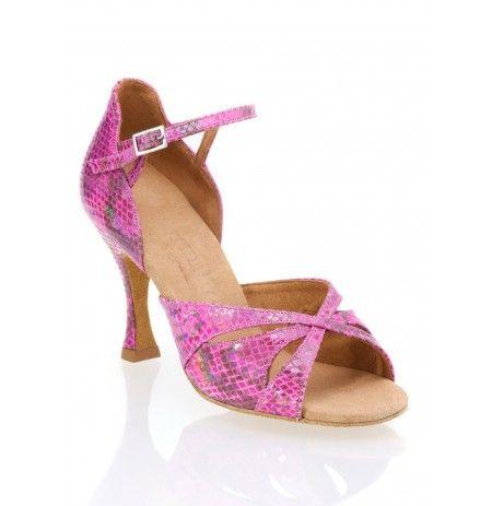 Chaussures danse salon rose serpent cuir