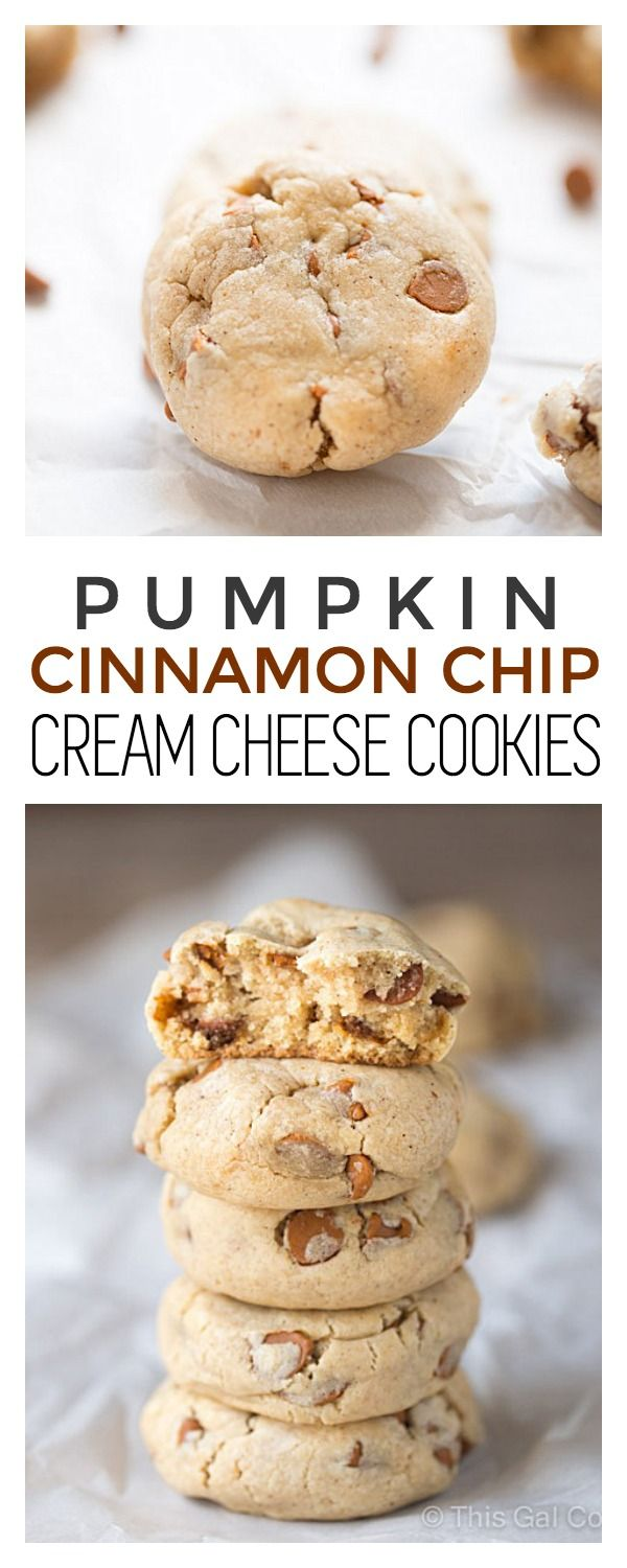 Pumpkin Cinnamon Chip Cream Cheese Cookies | This Gal Cooks #dessert