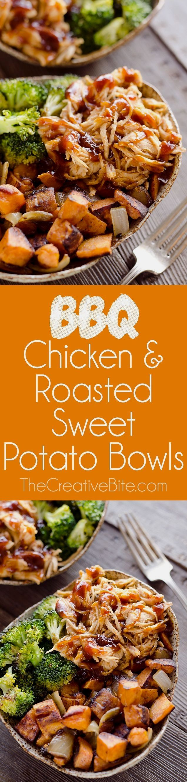 (use paleo approved bbq sauce) BBQ Chicken & Roasted Sweet Potato Bowls are a hearty and healthy dinner idea bursting with bold flavors and nutritious vegetables. This easy sheet pan recipe is perfect for meal prepping lunches for work or a quick weeknight meal.