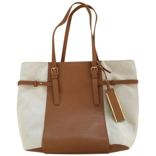 Pre-owned Cole Haan Tan & Cream Tote Bag ($112) ❤ liked on Polyvore featuring bags, handbags, tote bags, handbags totes, cole haan purses, cole haan tote bag, brown tote bags and tote purses