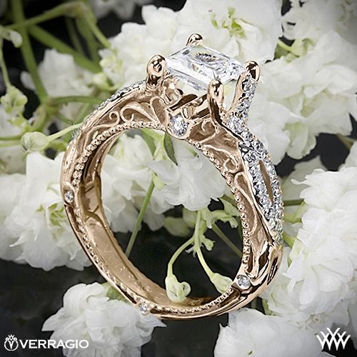 20k Rose Gold Verragio AFN 5003 2 Pave Twist Diamond Engagement Ring