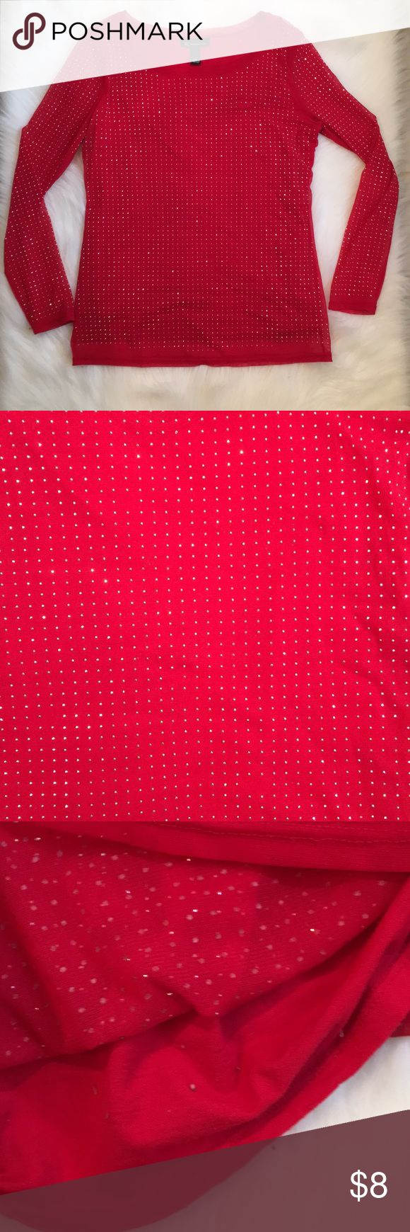 Red sparkle silver studded top Good used condition. Has built in tank underneath and tank has fuzzy and pilling but that isn't seen when worn. Maybe a couple studded silver dots missing in a couple spots but really cannot tell. Smoke free and pet free home. Price reflects those things. INC International Concepts Tops Blouses