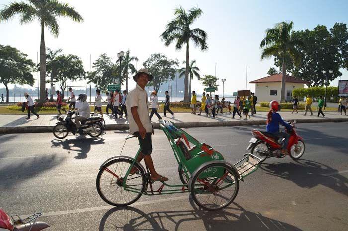 Ook de cyclo of fietstaxi is erg populair.