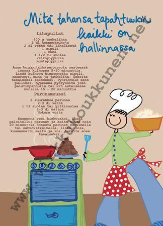 """Staattinen reseptikortti +kuori """"Lihapullat ja perunamuussi"""""""