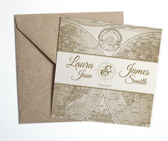 For the adventurous Bride & Groom, this Vintage World Map wedding Invitation suite would be prefect!  This SAMPLE invitation comes with a brown