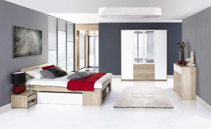 Milo to połączenie nowoczesnej formy z funkcjonalnością. Charakterystycznym elementem tej kolekcji jest rozbudowane łoże zawierające dwie wysuwane szafki nocne. #meble #furniture #relaks #relax #odpoczynek #sypialnia #bedroom #inspiracja