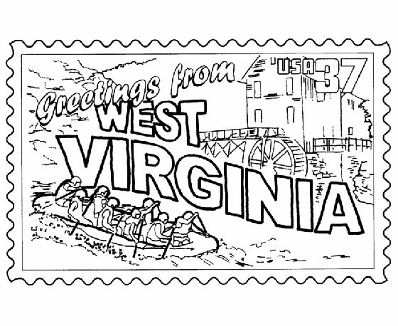 west virginia state stamp coloring page